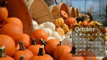 Pumpkins October Calendar Desktop Wallpaper