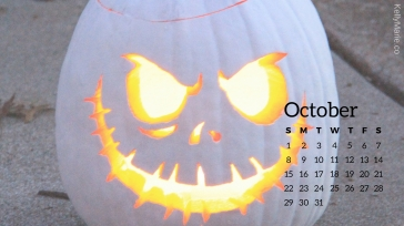 White Jack o'lantern Pumpkin October Calendar Desktop Wallpaper
