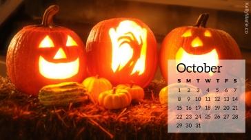 Jack o'lantern Pumpkin Halloween October Calendar Desktop Wallpaper