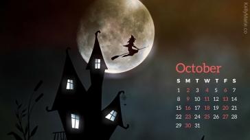 Haunted House, Witch, Moon, Halloween October Calendar Desktop Wallpaper