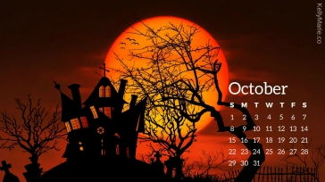 Haunted House October Halloween Calendar Desktop Wallpaper