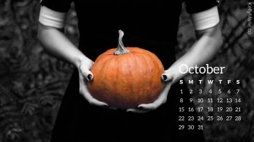 Pumpkin Halloween October Calendar Desktop Wallpaper