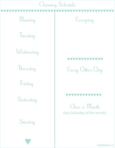 Cleaning Schedule Print Out Blank