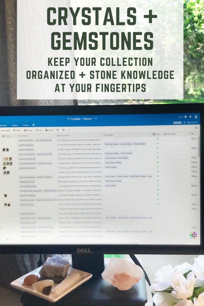 Crystals + Gemstones - Keep Your Collection Organized + Stone Knowledge at Your Fingertips