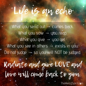 Life is an echo. What you send out, comes back. What you sow, you reap. What you give, you get. What you see in others, exists in you. Remember, life 4