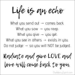 Life is an echo. What you send out, comes back. What you sow, you reap. What you give, you get. What you see in others, exists in you. Remember, life is an echo. It always gets back to y